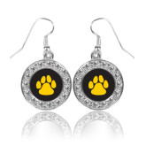 Crystal Studded Round Pendant Silver Dangle Earrings-Paw