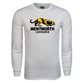 White Long Sleeve T Shirt-Wentworth Leopards Stacked Leopard