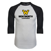 White/Black Raglan Baseball T-Shirt-W Wentworth Leopards Stacked