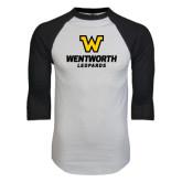 White/Black Raglan Baseball T-Shirt-W Wentworth Leopards Stacked