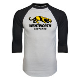 White/Black Raglan Baseball T-Shirt-Wentworth Leopards Stacked Leopard
