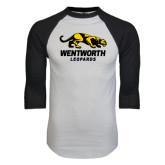 White/Black Raglan Baseball T-Shirt-Wentworth Leopards Stacked Leopard