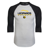 White/Black Raglan Baseball T-Shirt-Baseball Seams Stacked Design