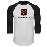 White/Black Raglan Baseball T Shirt-Shield Logo