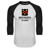 White/Black Raglan Baseball T Shirt-Shield Alumni logo