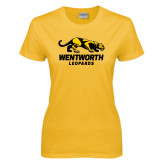 Ladies Gold T Shirt-Wentworth Leopards Stacked Leopard
