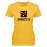 Ladies Gold T Shirt-Shield Logo