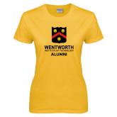 Ladies Gold T Shirt-Shield Alumni logo