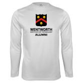 Performance White Longsleeve Shirt-Shield Alumni logo