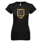Next Level Ladies SoftStyle Junior Fitted Black Tee-Soccer Shield Design