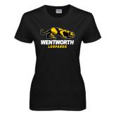 Ladies Black T Shirt-Wentworth Leopards Stacked Leopard