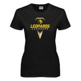 Ladies Black T Shirt-Lacrosse Geometric Design