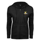 ENZA Ladies Black Fleece Full Zip Hoodie-W Wentworth Leopards Stacked