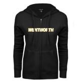 ENZA Ladies Black Fleece Full Zip Hoodie-Wentworth