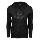 ENZA Ladies Black Fleece Full Zip Hoodie-Official Logo Glitter
