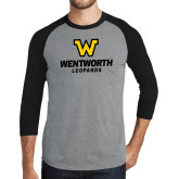 Grey/Black Tri Blend Baseball Raglan-W Wentworth Leopards Stacked