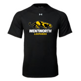Under Armour Black Tech Tee-Wentworth Leopards Stacked Leopard