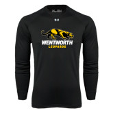 Under Armour Black Long Sleeve Tech Tee-Wentworth Leopards Stacked Leopard