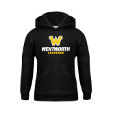Youth Black Fleece Hoodie-W Wentworth Leopards Stacked