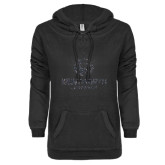 ENZA Ladies Black V-Notch Raw Edge Fleece Hoodie-Official Logo Glitter