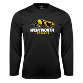 Performance Black Longsleeve Shirt-Wentworth Leopards Stacked Leopard