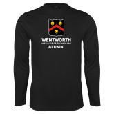 Performance Black Longsleeve Shirt-Shield Alumni logo