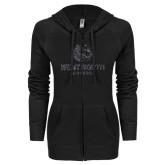 ENZA Ladies Black Light Weight Fleece Full Zip Hoodie-Official Logo Glitter
