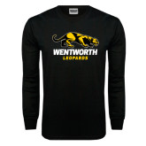 Black Long Sleeve TShirt-Wentworth Leopards Stacked Leopard