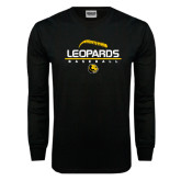 Black Long Sleeve TShirt-Baseball Seams Stacked Design
