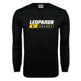 Black Long Sleeve TShirt-Hockey Block Design