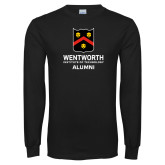 Black Long Sleeve T Shirt-Shield Alumni logo
