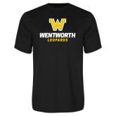 Performance Black Tee-W Wentworth Leopards Stacked
