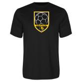 Performance Black Tee-Soccer Shield Design