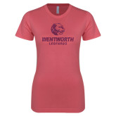 Next Level Ladies SoftStyle Junior Fitted Pink Tee-Official Logo Glitter