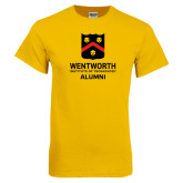 Gold T Shirt-Shield Alumni logo