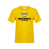 Youth Gold T Shirt-W Wentworth Leopards Stacked