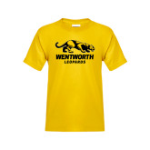 Youth Gold T Shirt-Wentworth Leopards Stacked Leopard