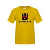 Youth Gold T Shirt-Shield Logo