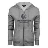ENZA Ladies Grey Fleece Full Zip Hoodie-Official Logo Glitter