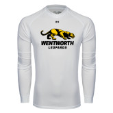 Under Armour White Long Sleeve Tech Tee-Wentworth Leopards Stacked Leopard