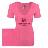 Next Level Ladies Vintage Pink Tri Blend V-Neck Tee-Official Logo Glitter