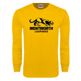 Gold Long Sleeve T Shirt-Wentworth Leopards Stacked Leopard