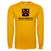 Gold Long Sleeve T Shirt-Shield Logo