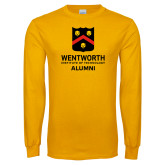 Gold Long Sleeve T Shirt-Shield Alumni logo