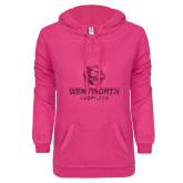 ENZA Ladies Hot Pink V Notch Raw Edge Fleece Hoodie-Official Logo Glitter