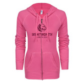 ENZA Ladies Hot Pink Light Weight Fleece Full Zip Hoodie-Official Logo Glitter