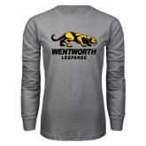 Grey Long Sleeve T Shirt-Wentworth Leopards Stacked Leopard