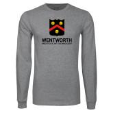 Grey Long Sleeve T Shirt-Shield Logo