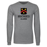 Grey Long Sleeve T Shirt-Shield Alumni logo
