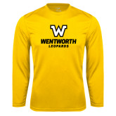 Performance Gold Longsleeve Shirt-W Wentworth Leopards Stacked